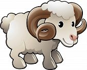 Cute Ram Sheep Farm Animal Vector Illustration poster