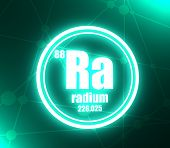 Radium Chemical Element. Sign With Atomic Number And Atomic Weight. Chemical Element Of Periodic Tab poster