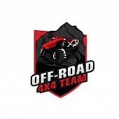 Off-road 4x4 Team. Off-roading Suv Adventure, Extreme Competition Emblem And Car Club Element. Beaut poster