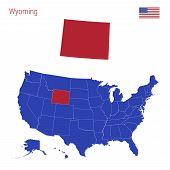 The State Of Wyoming Is Highlighted In Red. Blue Vector Map Of The United States Divided Into Separa poster