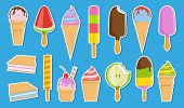 Vector Ice Cream Sticker Collection. Cartoon Ice Cream. Colorful Fruit Ice Cream. Ice Lolly. Vector  poster