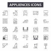 Appliances Line Icons, Signs Set, Vector. Appliances Outline Concept, Illustration: Machine, Refrige poster