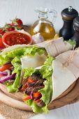 Photo Of Mexican Sandwich Food, Burrito, Fajita, Tacos, Wrap Made Of Tortilla, Beef, Chicken, Fresh  poster
