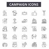 Campaign Line Icons, Signs Set, Vector. Campaign Outline Concept, Illustration: Campaign, Marketing, poster