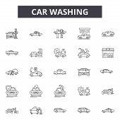 Car Washing Line Icons, Signs Set, Vector. Car Washing Outline Concept, Illustration: Car, Wash, Ser poster