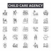 Child Care Agency Line Icons, Signs Set, Vector. Child Care Agency Outline Concept, Illustration: Ca poster