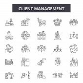 Client Management Line Icons, Signs Set, Vector. Client Management Outline Concept, Illustration: Bu poster
