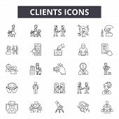 Clients Line Icons, Signs Set, Vector. Clients Outline Concept, Illustration: Business, Management,  poster