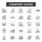 Comfort Line Icons, Signs Set, Vector. Comfort Outline Concept, Illustration: Comfortable, Decomfort poster