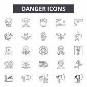 Danger Line Icons, Signs Set, Vector. Danger Outline Concept, Illustration: Danger, Caution, Attenti poster