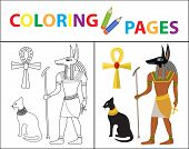 Coloring Book Page. Egyptian Set. Sketch Outline And Color Version. Coloring For Kids. Childrens Edu poster