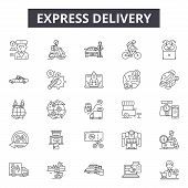 Express Delivery Line Icons, Signs Set, Vector. Express Delivery Outline Concept, Illustration: Deli poster