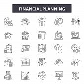Financial Planning Line Icons, Signs Set, Vector. Financial Planning Outline Concept, Illustration:  poster