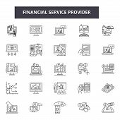 Financial Service Provider Line Icons, Signs Set, Vector. Financial Service Provider Outline Concept poster