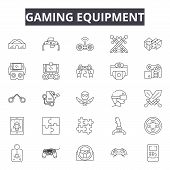 Gaming Equipment Line Icons, Signs Set, Vector. Gaming Equipment Outline Concept, Illustration: Equi poster