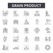 Grain Product Line Icons, Signs Set, Vector. Grain Product Outline Concept, Illustration: Grain, Foo poster