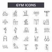 Gym Line Icons, Signs Set, Vector. Gym Outline Concept, Illustration: Gym, Fitness, Weight, Muscle,  poster