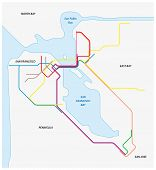Metro Map Of San Francisco And The California Bay Area poster