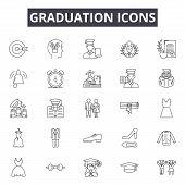 Graduation Line Icons, Signs Set, Vector. Graduation Outline Concept, Illustration: Graduation, Educ poster
