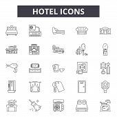 Hotel Line Icons, Signs Set, Vector. Hotel Outline Concept, Illustration: Hotel, Vacation, Travel, B poster