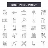 Kitchen Equipment Line Icons, Signs Set, Vector. Kitchen Equipment Outline Concept, Illustration: Ki poster