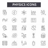 Physics Line Icons, Signs Set, Vector. Physics Outline Concept, Illustration: Science, Physics, Atom poster