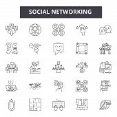 Social Networking Line Icons, Signs Set, Vector. Social Networking Outline Concept, Illustration: Ne poster