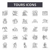 Tours Line Icons, Signs Set, Vector. Tours Outline Concept, Illustration: Tour, Travel, Camera, Tour poster