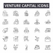 Venture Capital Line Icons, Signs Set, Vector. Venture Capital Outline Concept, Illustration: Busine poster