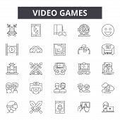Video Games Line Icons, Signs Set, Vector. Video Games Outline Concept, Illustration: Game, Video, C poster