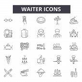 Waiter Line Icons, Signs Set, Vector. Waiter Outline Concept, Illustration: Food, Waiter, Restaurant poster