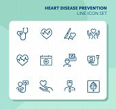 Heart Disease Prevention Line Icon Set. Stethoscope, Surgery, Cardiogram, First Aid Kit. Medicine Co poster