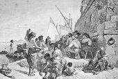 die Bettler auf dem Pier. Kupferstich von Gedan aus Bild von Maler Grob. veröffentlicht in der Zeitschrift