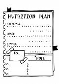 Cartoon Illustration Of Nutrition Plan. Hand Drawn Diet Plan In Doodle Style For Breakfast, Lunch An poster