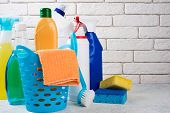 Basket With Cleaning Products On White Background. Cleaning With Supplies, Cleaning Service And Clea poster