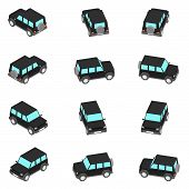 Animation Of The Rotation Of The Of An Suv In View Isometric. poster