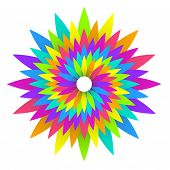 Abstract Geometric Rainbow Flower  Design