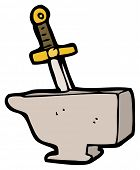 picture of arthurian  - sword in anvil cartoon  - JPG