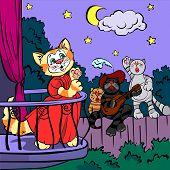Three singing cats, vector drawing