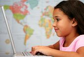 picture of school child  - Child at school on the computer in classroom