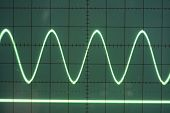 stock photo of sine wave  - a sine wave on the screen of an old oscilloscope - JPG