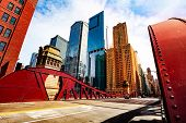 Bridge Over Chicago River In City Downtown poster