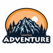 Logo For Mountain Adventure , Camping, Climbing Expedition. Vintage Vector Logo And Labels, Template poster