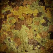 stock photo of tarp  - dingy camouflage on natural canvas - JPG