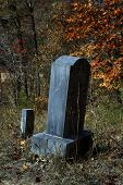 Tombstone during Autumn