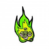 stock photo of meteorite  - cartoon burning green meteorite - JPG