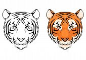 line illustration of a tiger head, suitable as tattoo or team mascot