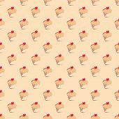 Seamless vector pattern, texture or background with sweet muffin cupcakes