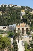 image of church mary magdalene  - Mount of Olives Church of All Nations and Church of Mary Magdalene view from the walls of Jerusalem - JPG