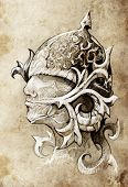 stock photo of shogun  - Sketch of tattoo art - JPG